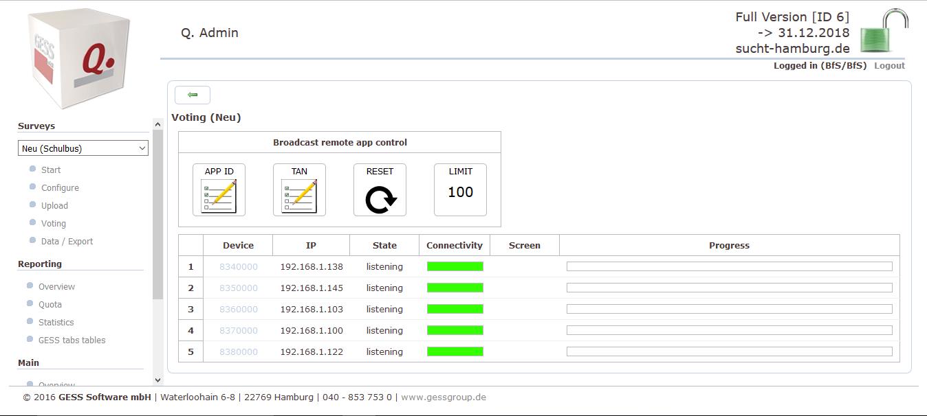 Voting-Oberfläche im GESS Q.-Menü